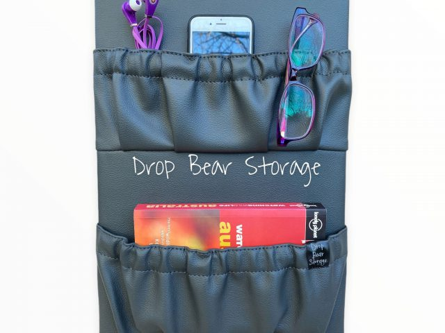 Double storage pocket in vinyl. charcoal colour. 100% australian made and owned