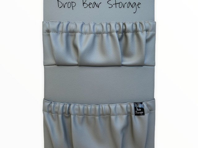 Double storage pocket in vinyl. stone colour. 100% australian made and owned