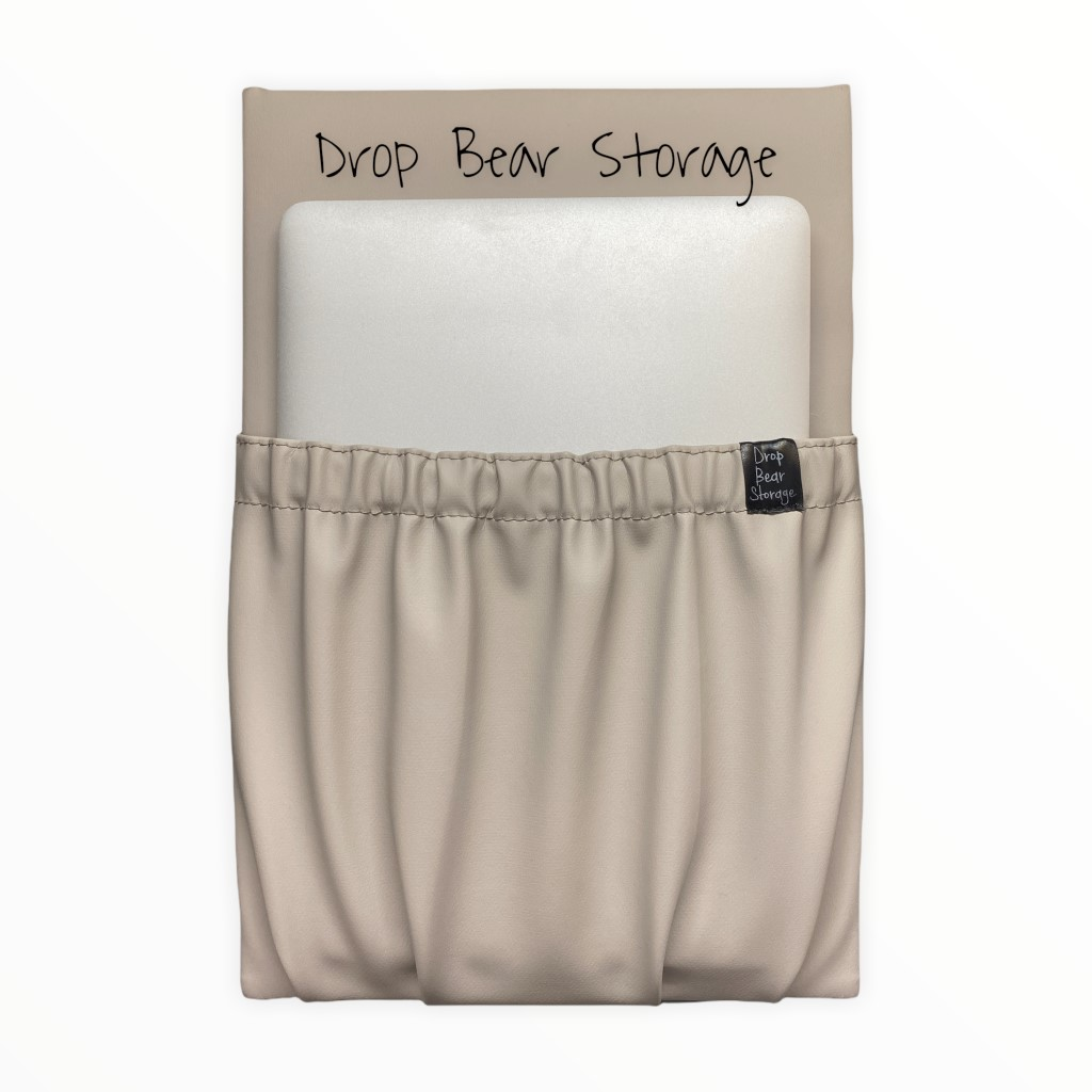Tall storage pocket in vinyl. latte colour. 100% australian made and owned