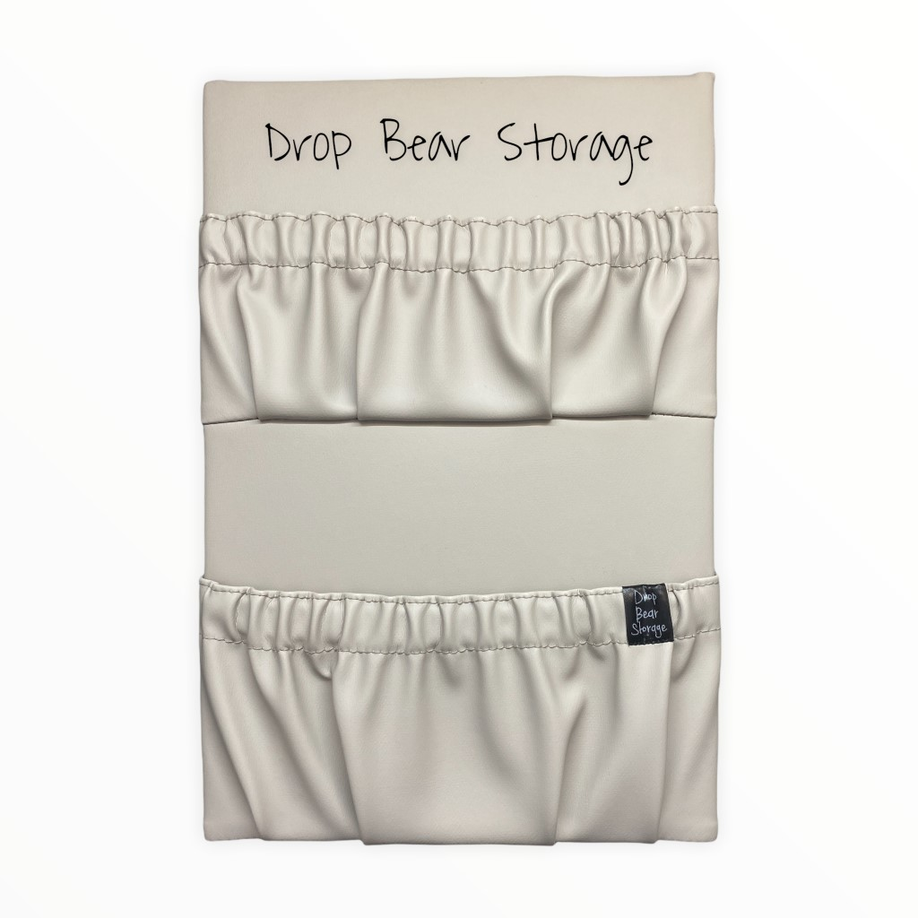 Double storage pocket in vinyl. latte colour. 100% australian made and owned