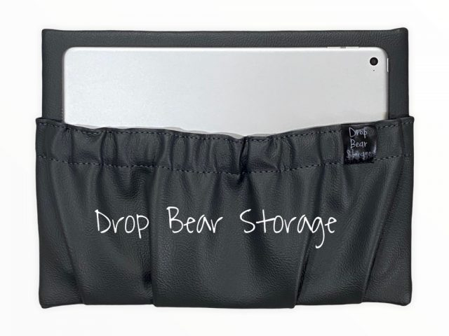 Mini storage pocket in vinyl. charcoal colour. 100% australian made and owned