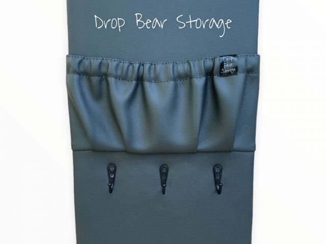 Triple hook with a storage pocket in vinyl. charcoal colour. 100% australian made and owned