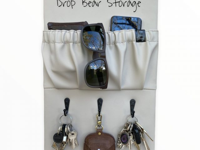 Triple hook with a storage pocket in vinyl. latte colour. 100% australian made and owned