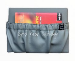 Mini storage pocket in vinyl. stone colour. 100% australian made and owned